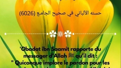 quiconque implore le pardon pour les musulmans et les musulmanes, Allah lui écrira pour chaque croyant et croyante une bonne action
