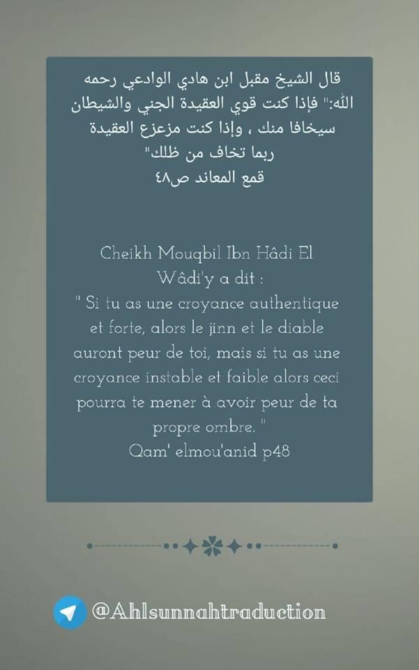 Si tu as une croyance authentique et forte, alors le jinn et le diable auront peur de toi