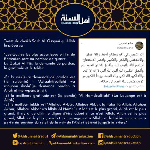 Les œuvres les plus accentuées en fin de Ramadan sont au nombre de quatre.