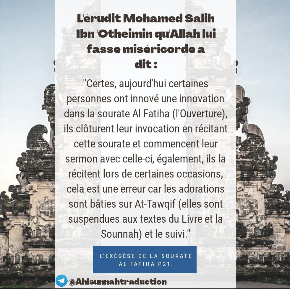 L'innovation de la lecture de la sourate Al Fatiha durant certaines occasions comme les mariages, etc...
