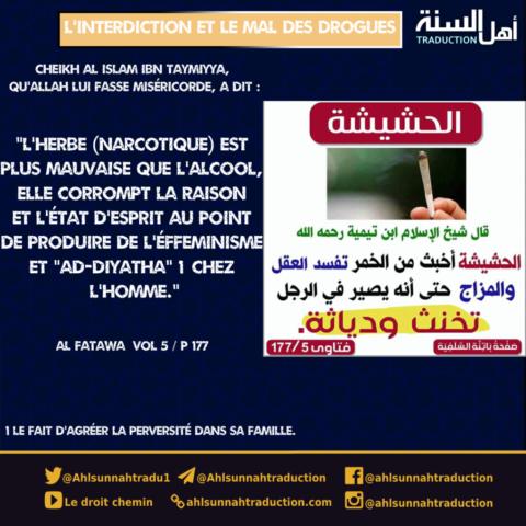 L'interdiction et le mal de la drogue. (Cheikh Al Islam Ibn Taymiyya)