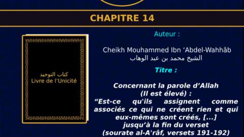 """Chapitre 14 Concernant la parole d'Allah (Il est élevé) : """"Est-ce qu'ils assignent comme associés ce qui ne créent rien et qui eux-mêmes sont créés,  et qui ne peuvent ni les secourir ni se secourir eux-mêmes ?"""" jusqu'à la fin du verset (sourate al-A'râf, versets 191-192)"""