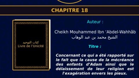 Chapitre 18 concernant ce qui a été rapporté sur le fait que la cause de la mécréance des enfants d'Adam ainsi que le délaissement de leur religion est l'exagération envers les pieux.