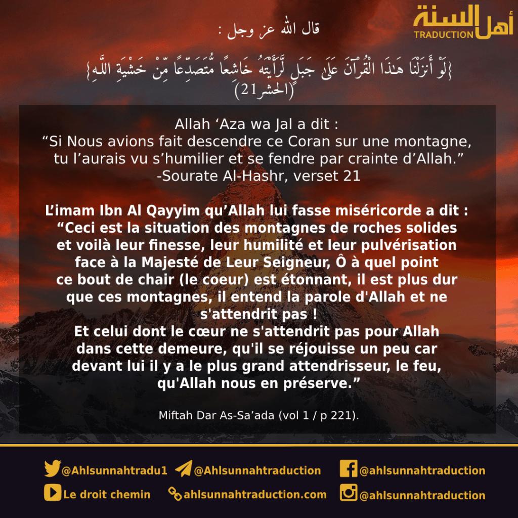 """(CORAN-exhortation) """"Si Nous avions fait descendre ce Coran sur une montagne, tu l'aurais vu s'humilier et se fendre par crainte d'Allah."""""""