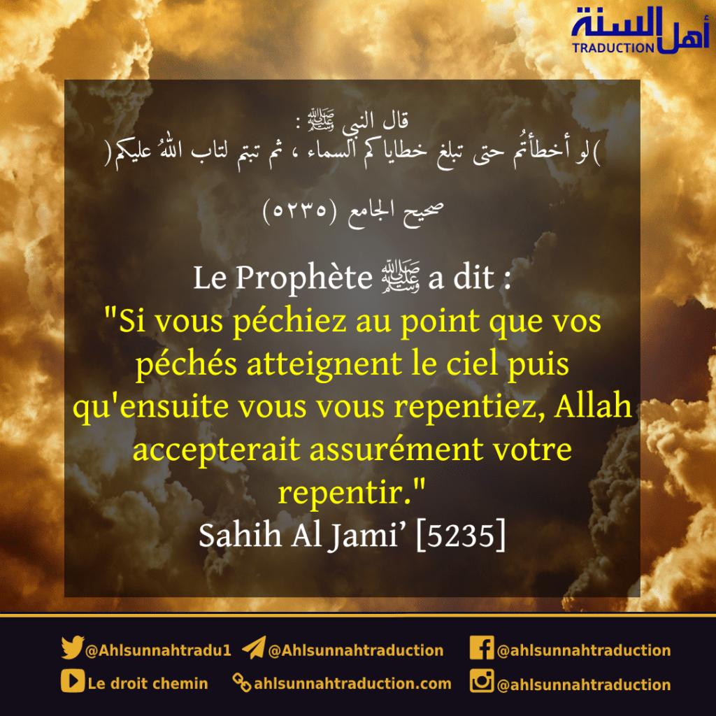 [Hadith] Si vous péchiez au point que vos péchés atteignent le ciel...