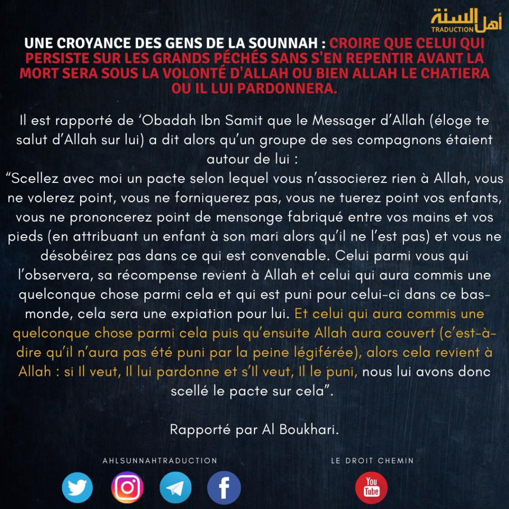 Une croyance des gens de la sounnah : croire que celui qui persiste sur les grands péchés sans s'en repentir avant la mort sera sous la volonté d'Allah ou bien Allah le châtiera ou Il lui pardonnera.