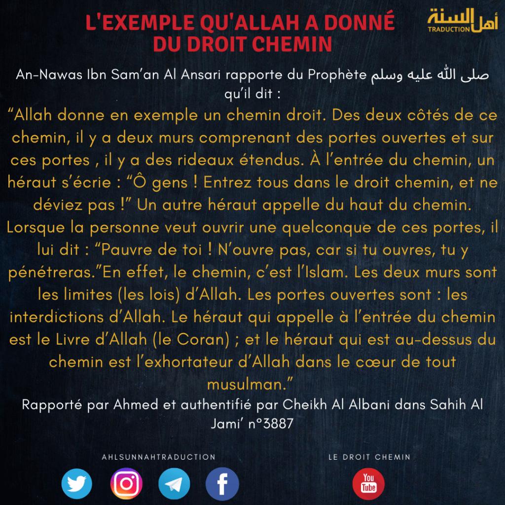 L'exemple qu'Allah a donné du droit chemin.