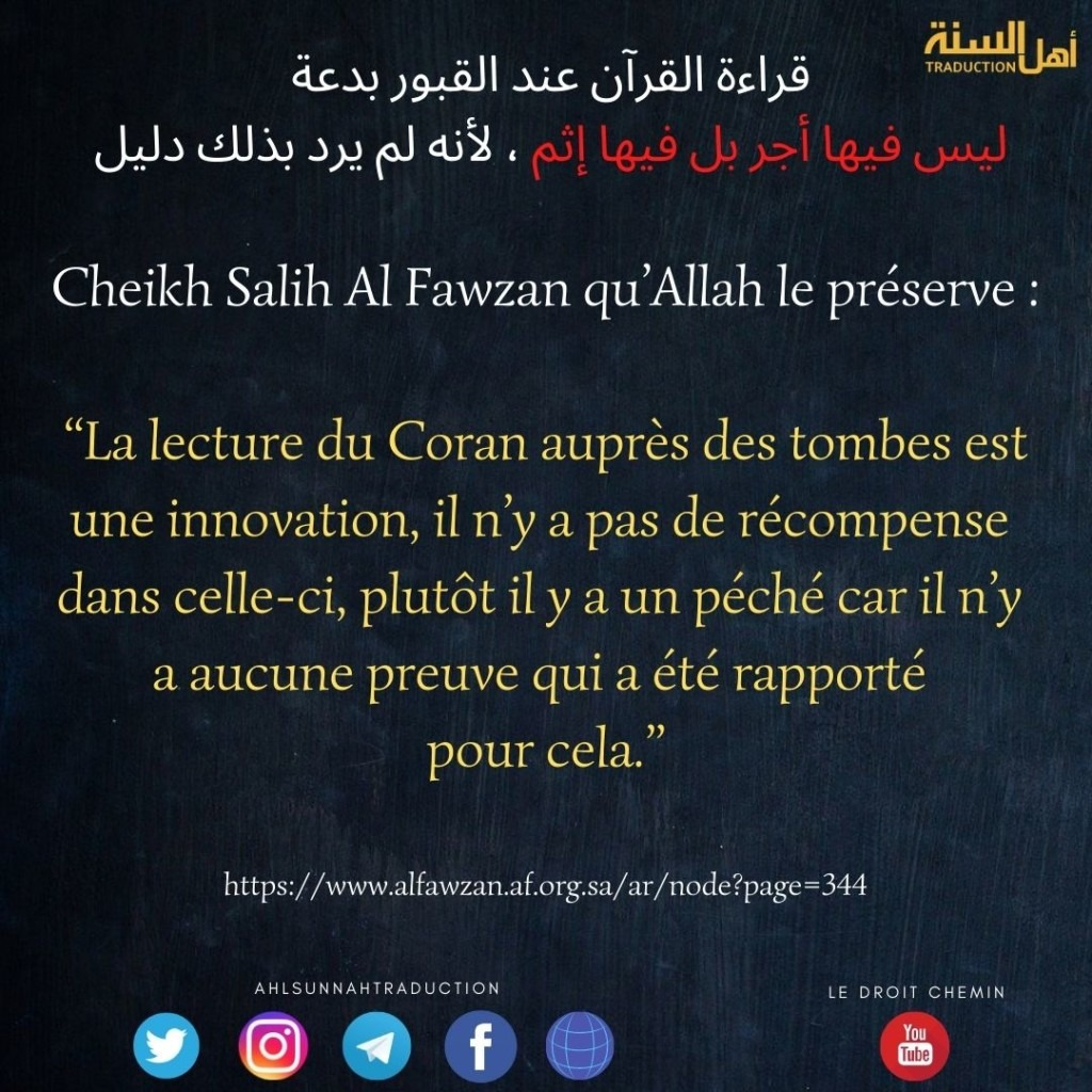 Le jugement de la lecture du Coran auprès des tombes.